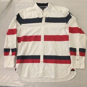 Tommy Hilfiger Red White Blue Striped Button Down